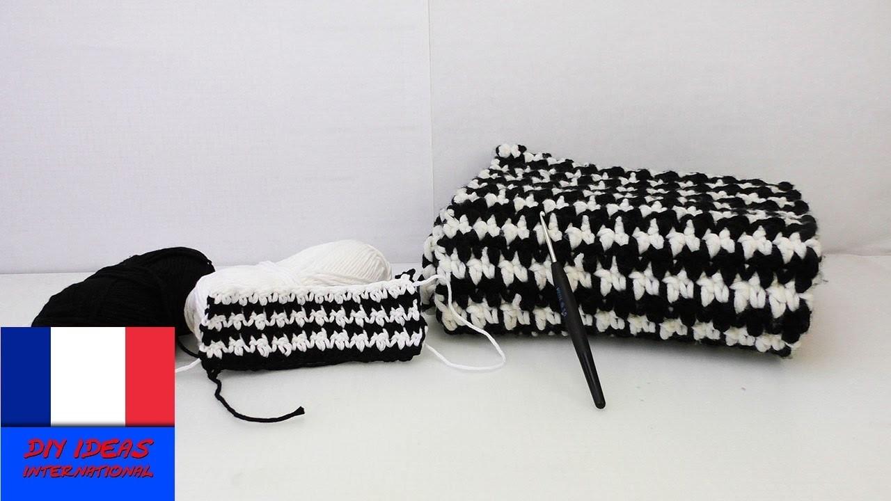 Crocheter un design noir-blanc. Motif tendance. Crochet facile. Pied de poule