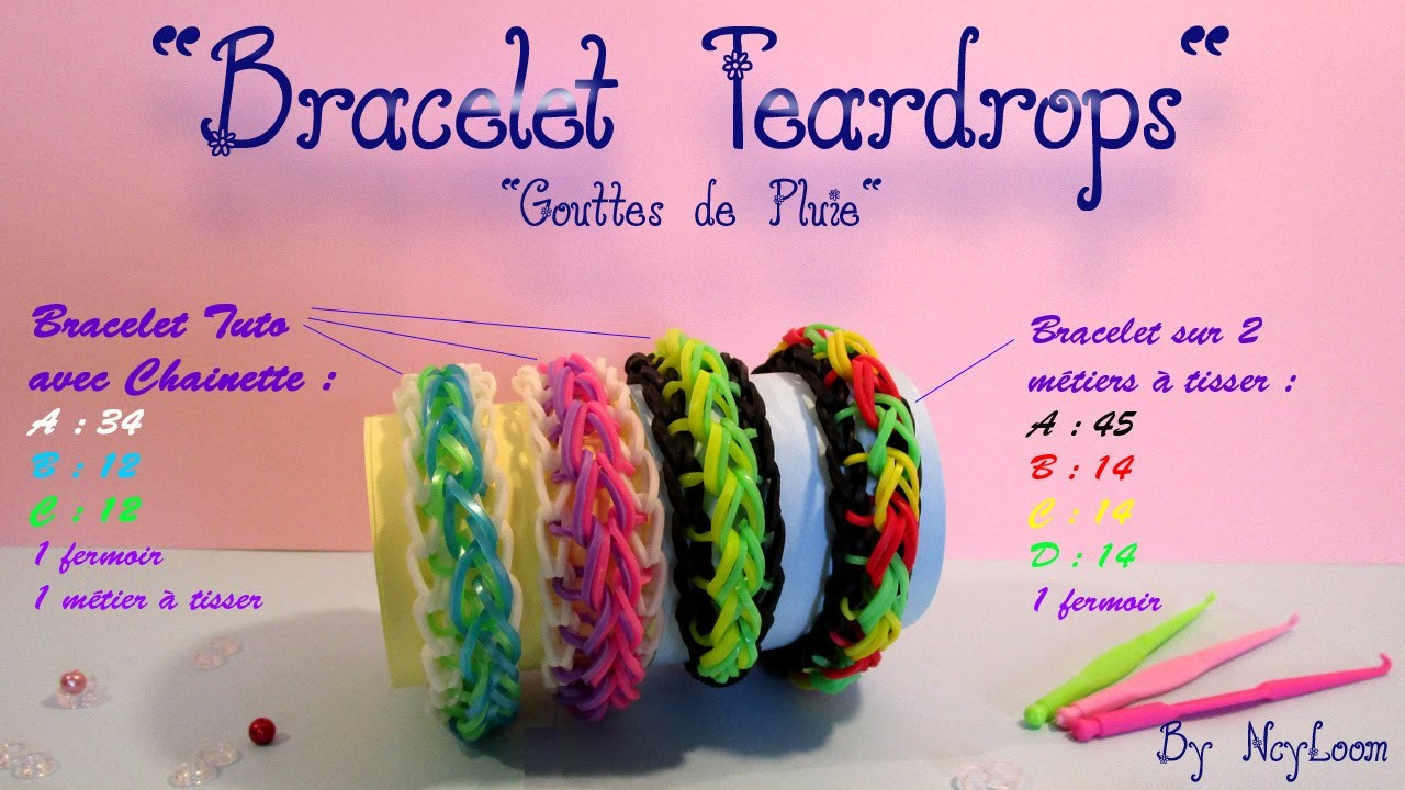 Tuto Simple Bracelet élastique raindrop rainbow loom FR