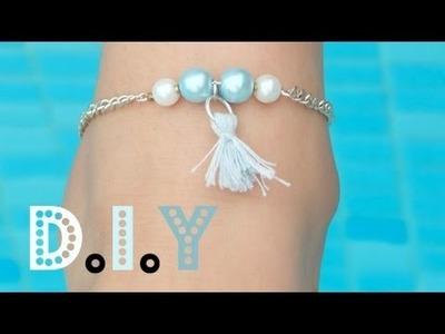 |D.I.Y| Bracelet de cheville pompon