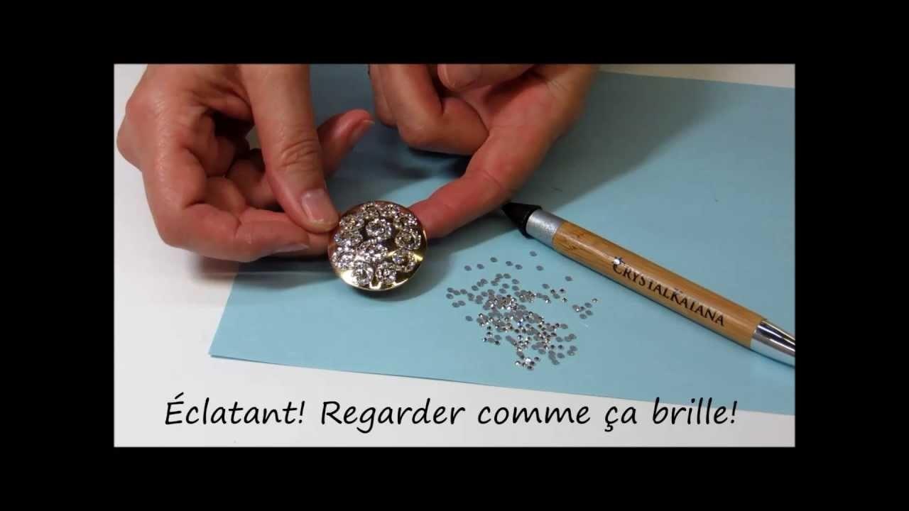 Boucles d'oreilles. Crystal Katana. Cristaux flat back (à dos plat) de Swarovski. Version française
