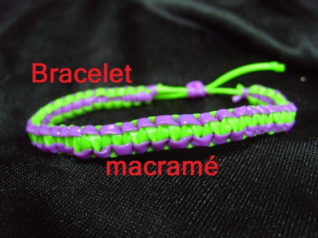 Bracelet scoubidou macram tuto francais - Comment faire un porte cle en scoubidou ...
