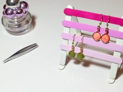 DIY Déco Porte boucles d'oreilles.bijoux avec des bâtons de glaces.bois