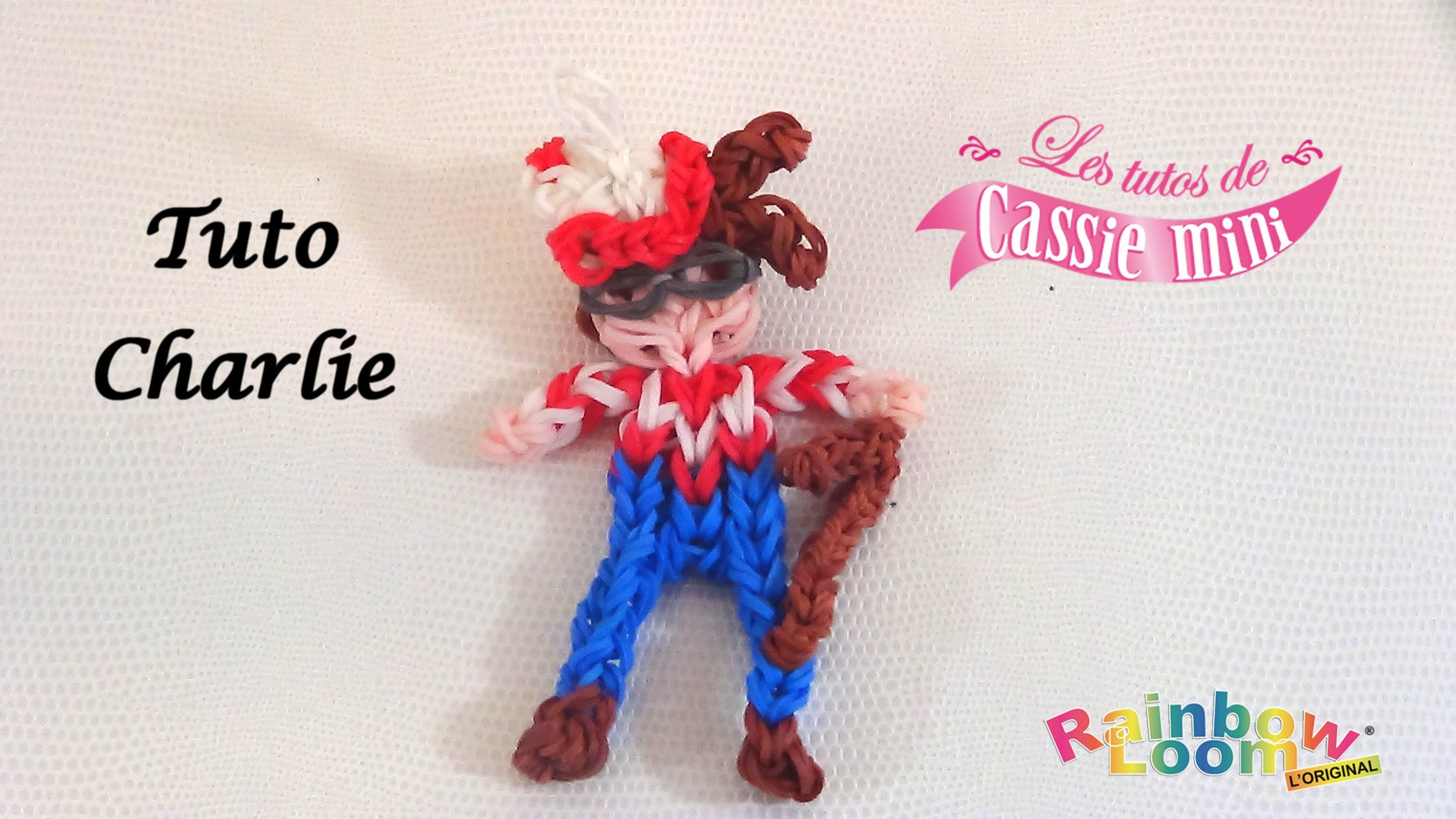Tuto charlie en lastique rainbow loom for Mural en elastique