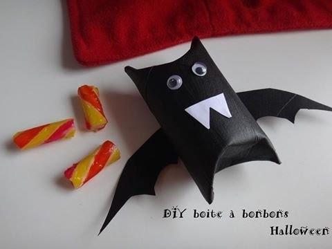 Tuto diy halloween boite à bonbons chauve souris rouleau carton