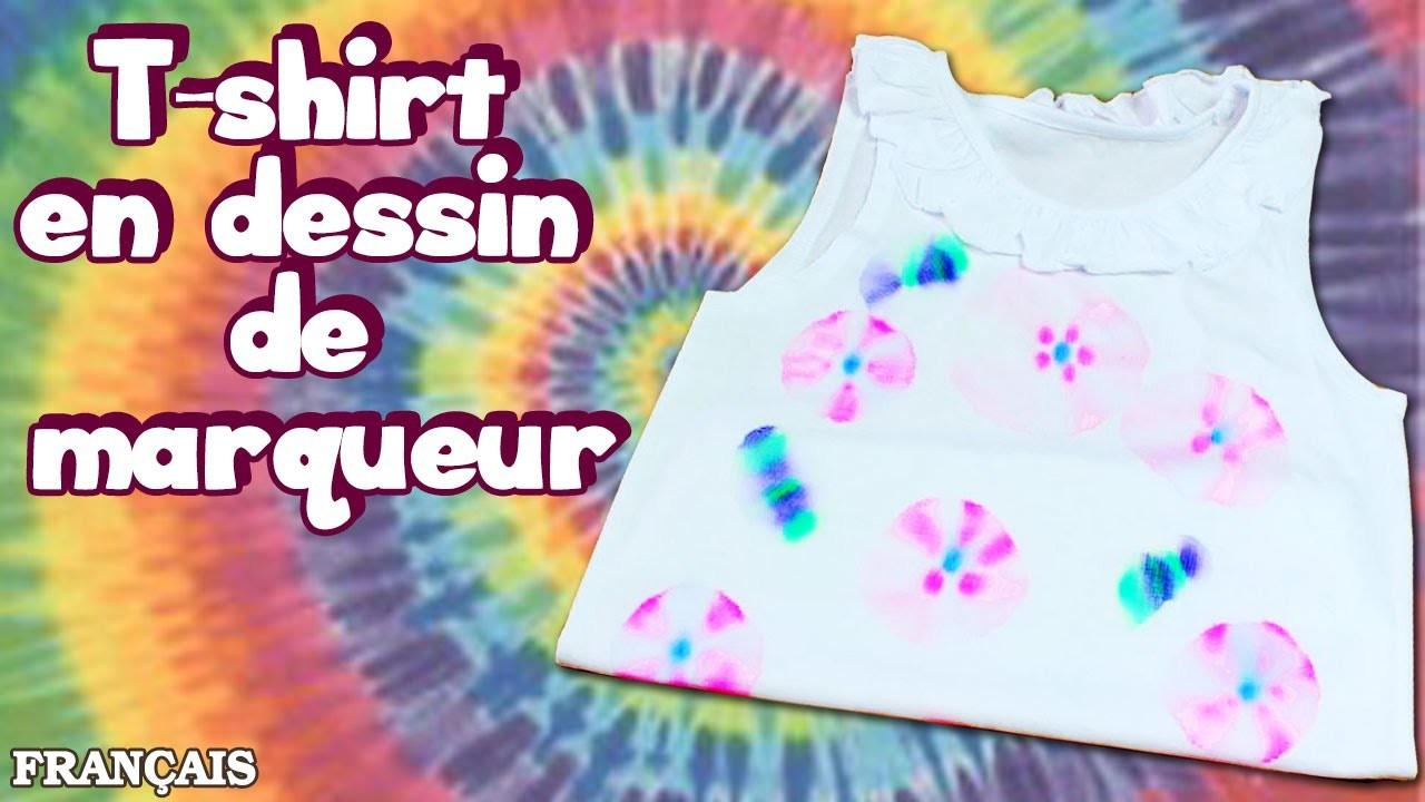 Bricolage Facil: Comment Faire T-shirt en Dessin de Marqueur | How to:Tie Dye T-shirt | DIY French