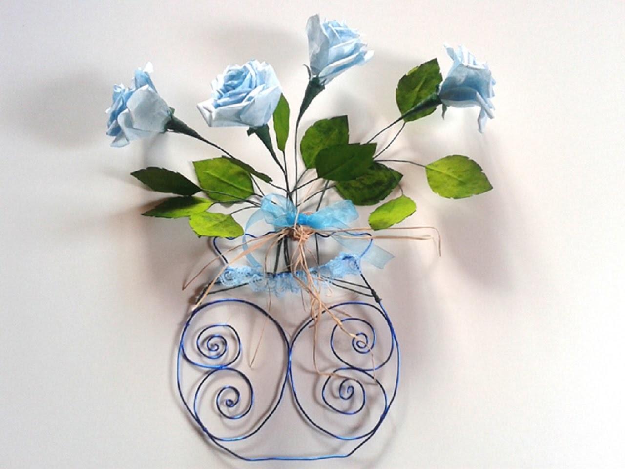 Roses bleues en papier : Montage feuilles - Paper roses