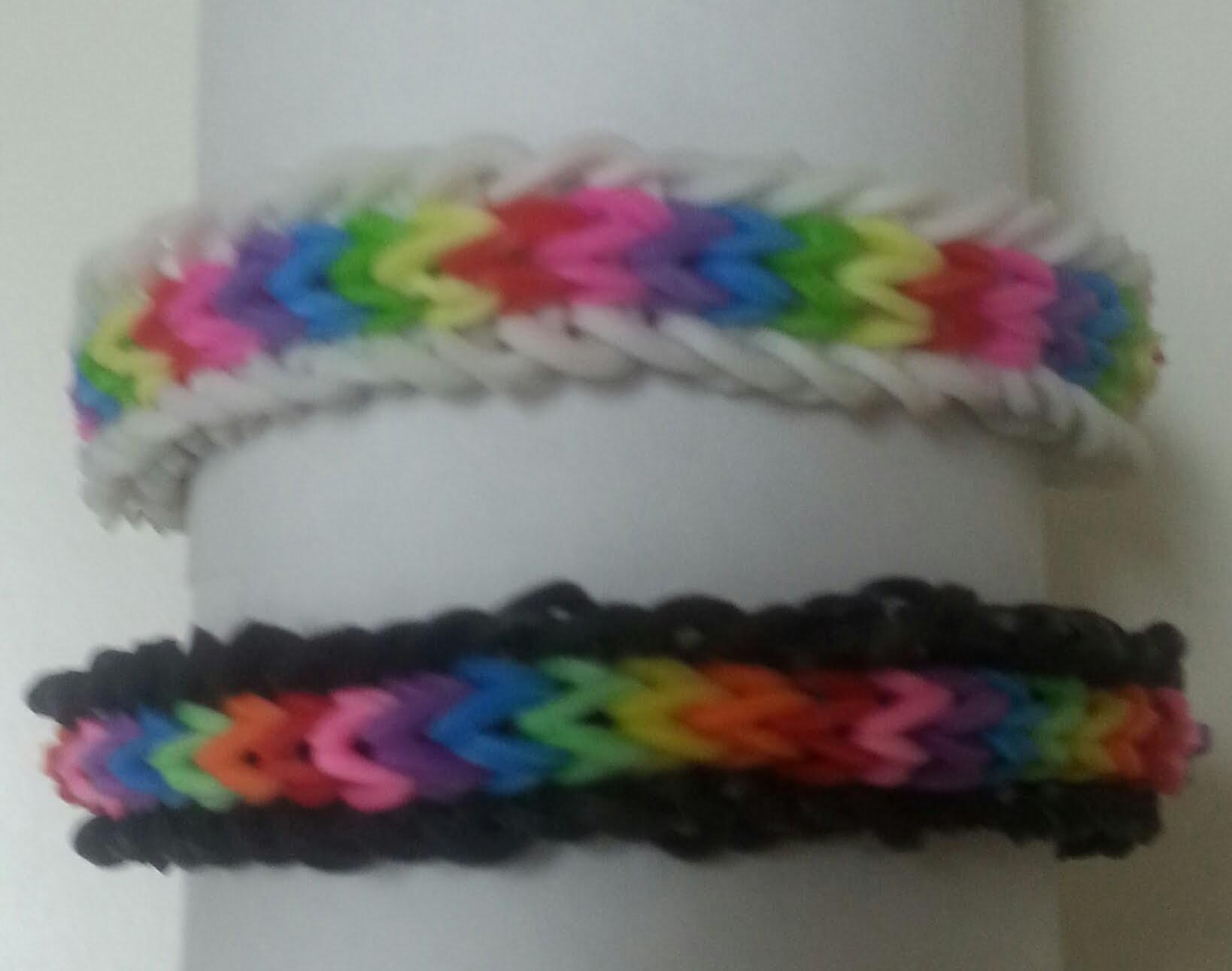 TUTO: bracelet élastique chevron avec bordures (Rainbow Loom)