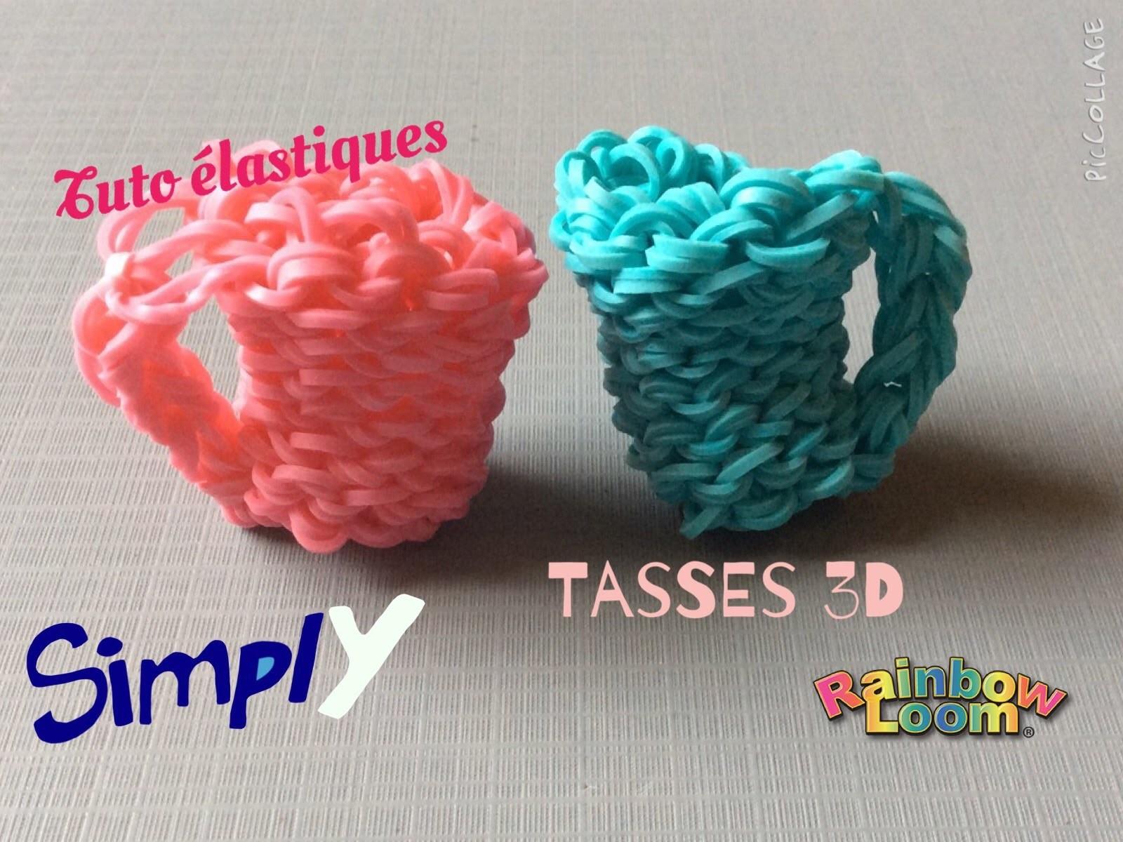{Tuto} Tasses 3D en élastiques Rainbow Loom | Simply