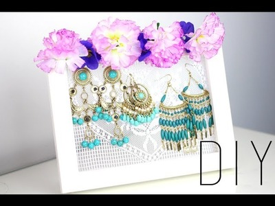 TUTORIEL - DIY : PRESENTOIR A BOUCLES D'OREILLES - rangement bijoux. Earrings holder (english subs)
