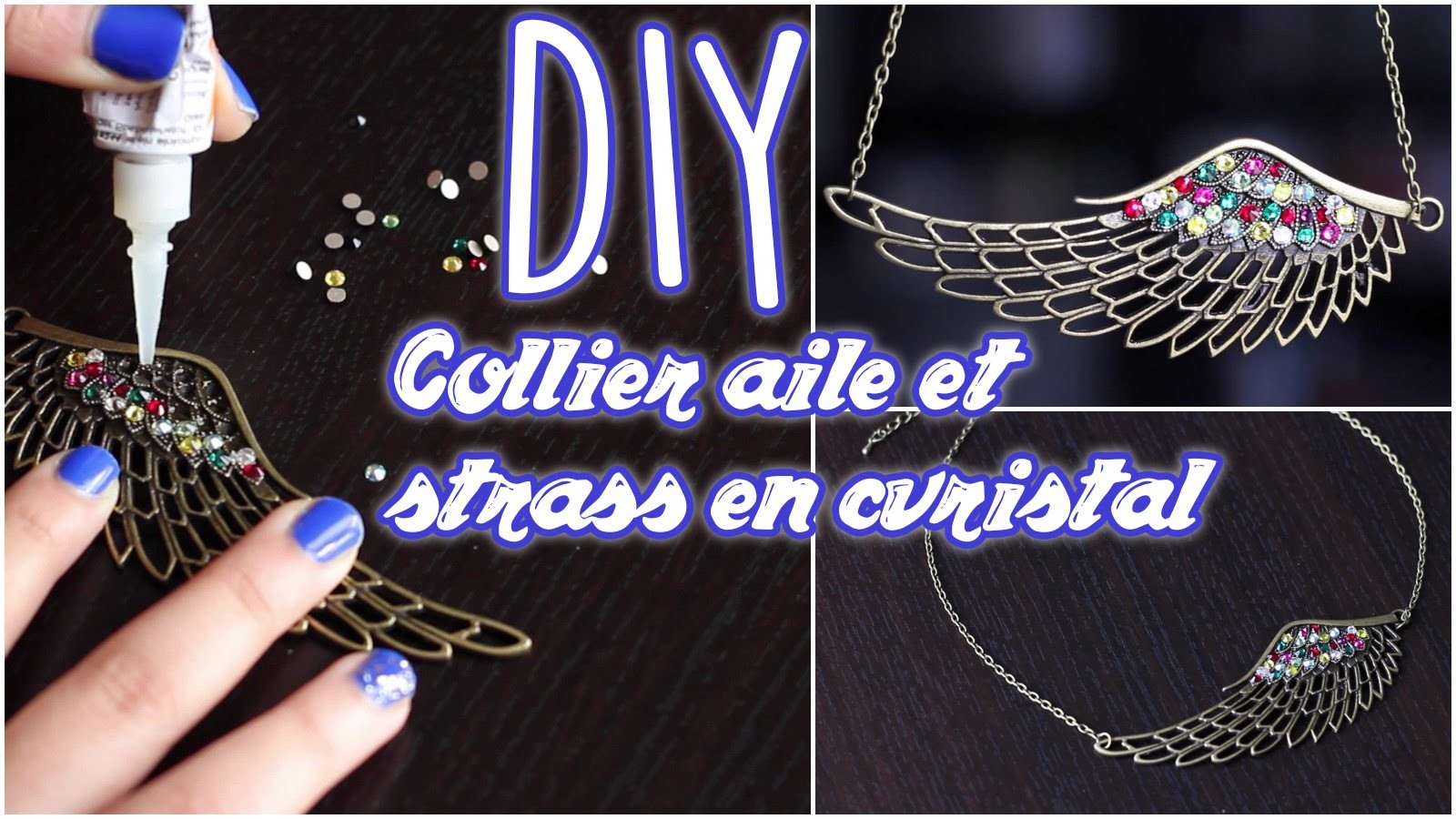 DIY # TUTO Collier aile et strass en cristal - Customiser une breloque