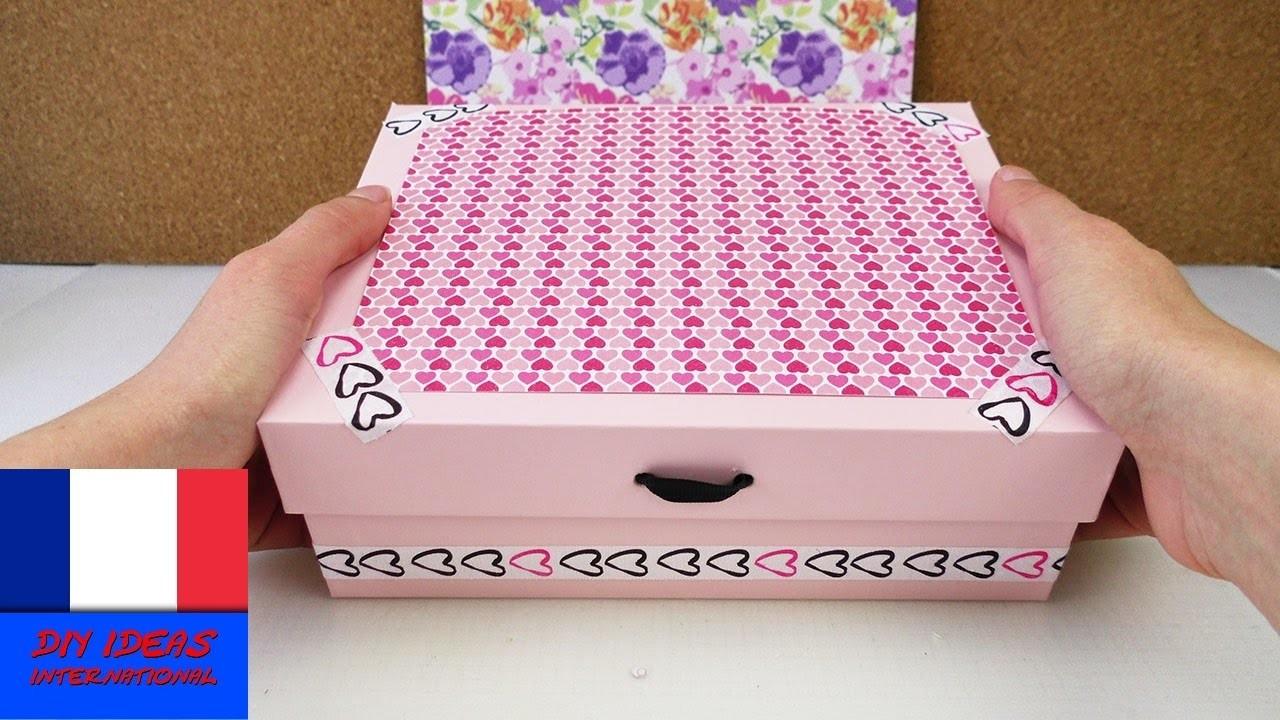 Boîte de rangement pour cosmétiques ou lingerie. Charmante boîte DIY. Création carton et papier