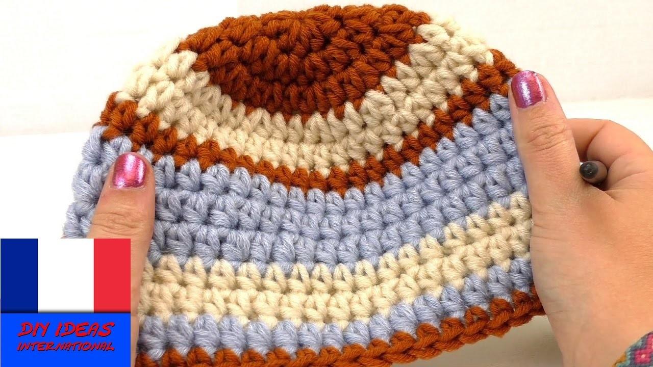Crocheter un bonnet pour enfant DIY pour l'hiver Bonnet avec 3 couleurs pour rester au chaud