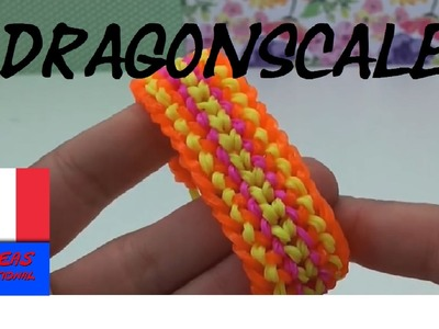 DIY Comment faire un bracelet en élastique.loom bands dragon scale sur fourchette - tuto en français