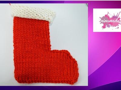"""DIY. Comment tricoter la botte du """"Père Noël"""" avec 2 aiguilles."""