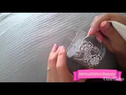 Diy Henna candle. bougie verre décorée