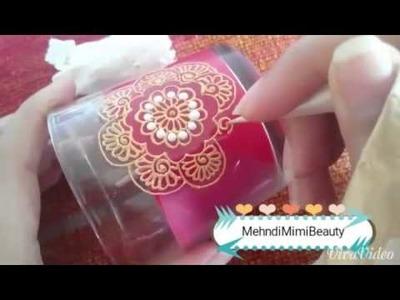 Diy easy Henna candle. bougie verre décorée