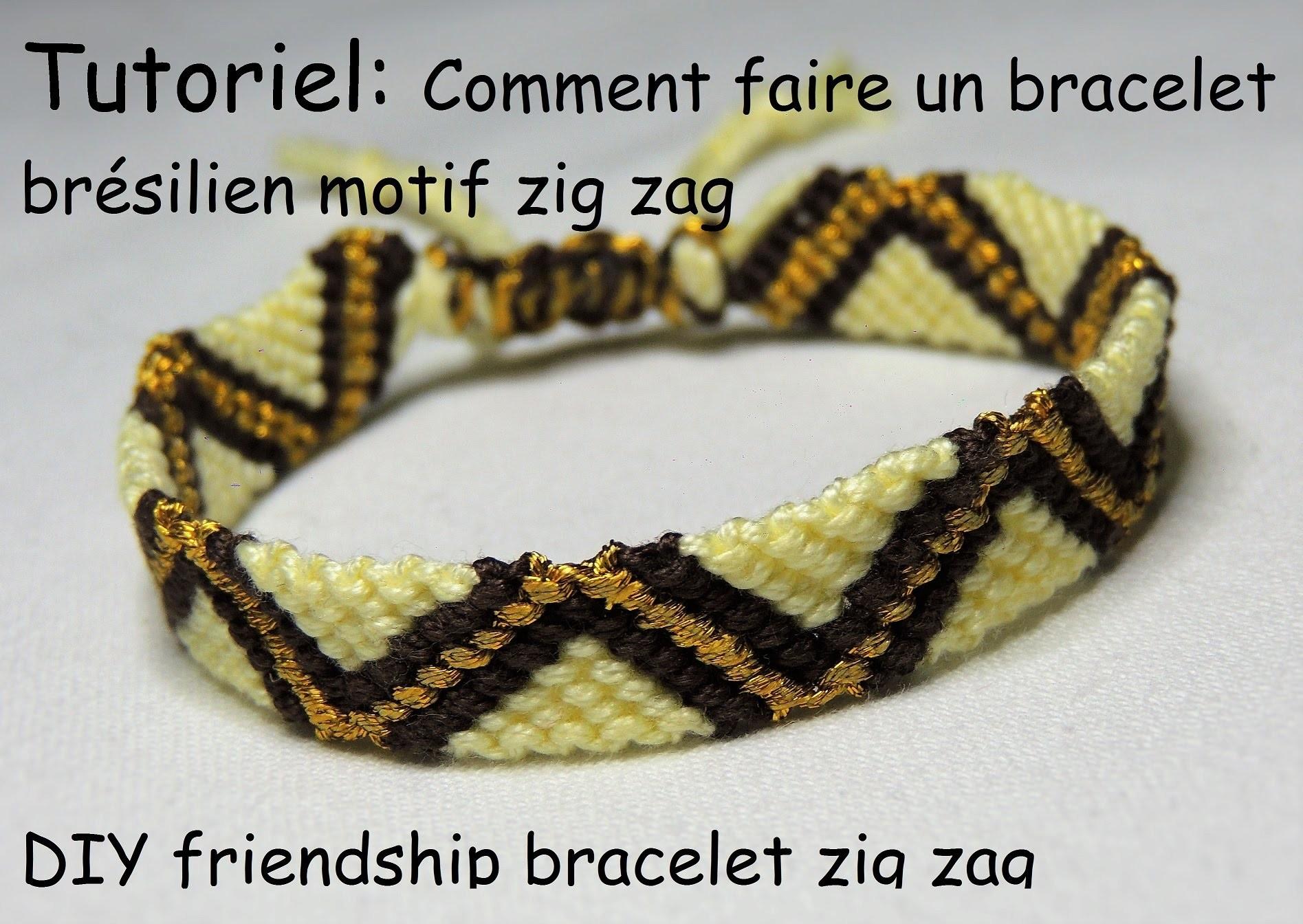 comment faire un bracelet br silien motif zig zag diy friendship bracelet zig zag. Black Bedroom Furniture Sets. Home Design Ideas
