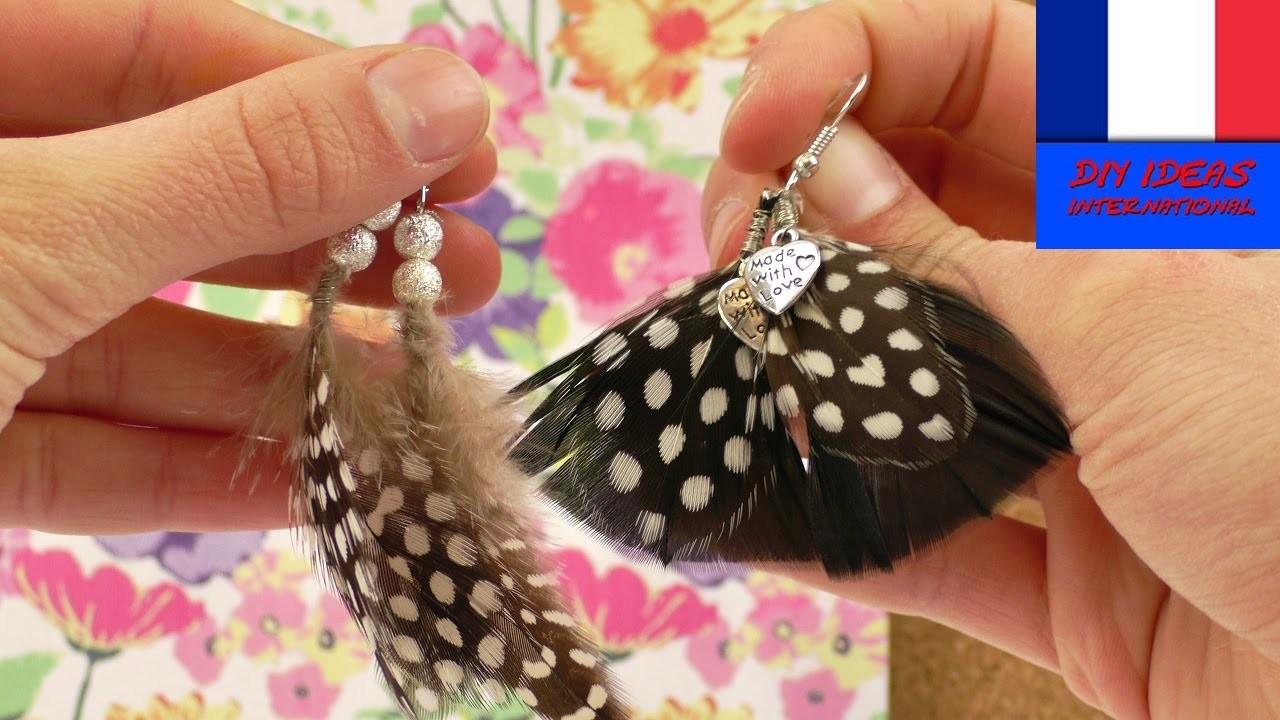 Jolies boucles d'oreilles avec des plumes à faire soi-même | DIY Bijoux dans un style ethnique