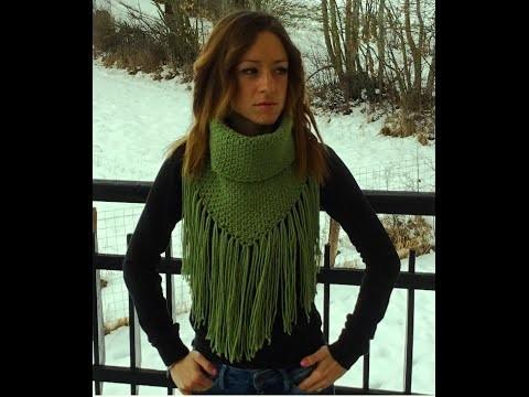 Col très tendance femme a franges facile. cuello mujer muy facil crochet