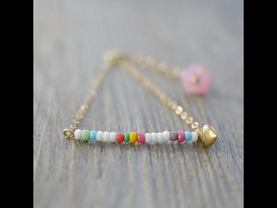 DIY Bracelet De Perles Colorées Avec Pendentif Coeur