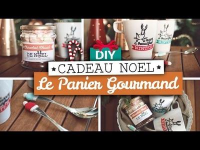 DIY Cadeaux Noël. Panier gourmand (mug illustré, cuillère pâte Fimo, chocolat chaud)