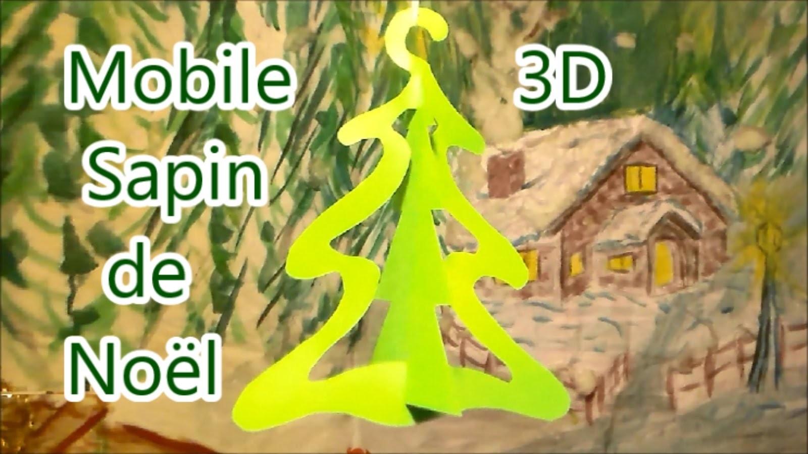 Les diy de Noël : Mobile 3D facile à faire d'un sapin de Noël