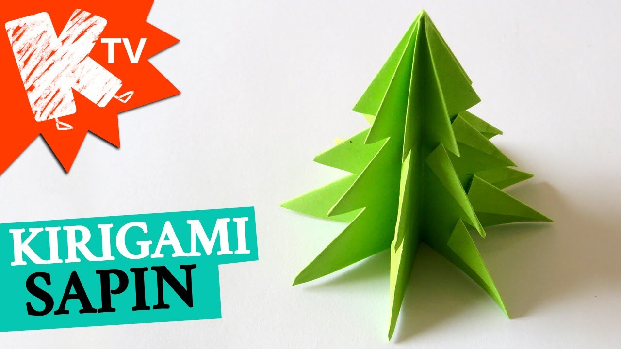 sapin de noel en papier kirigami origami facile. Black Bedroom Furniture Sets. Home Design Ideas