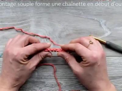 """Montage des mailles """"chaînette"""" avec un crochet : pour droitiers"""