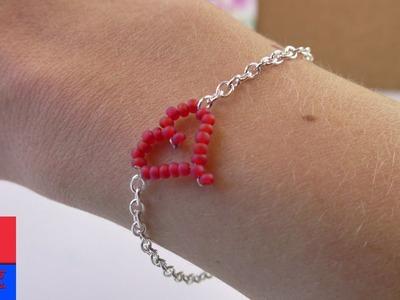 Bracelet DIY avec un cœur en perles   Cœur en fil de fer à faire soi-même   Super cadeau