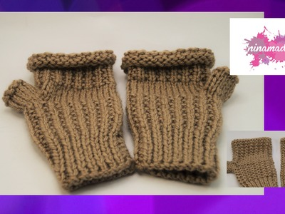 DIY. Comment tricoter des mitaines sans doigts.Like knitting fingerless. mittens
