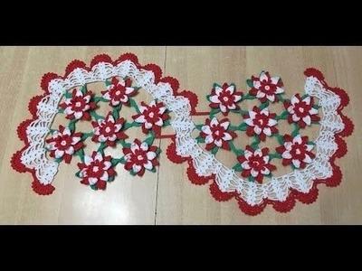 Tuto chemin de table fleur au crochet spécial gaucher 1.2