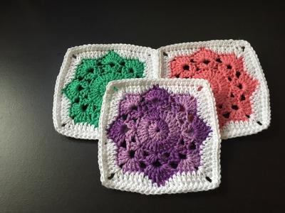 Tuto square flocon au crochet spécial gaucher