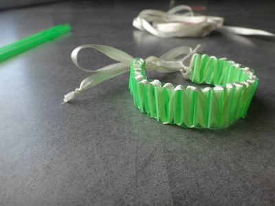 Tuto bracelet pailles et ruban - défis créa bull'