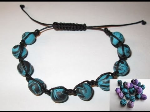 d i y tuto bracelet shamballa avec perles en fimo tres facile easy make shamballa. Black Bedroom Furniture Sets. Home Design Ideas