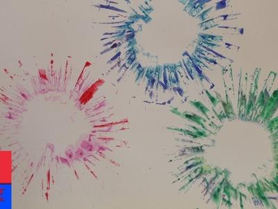 Peindre des feux d'artifice multicolores | Explosion de couleurs avec un tampon en carton | Cadeau