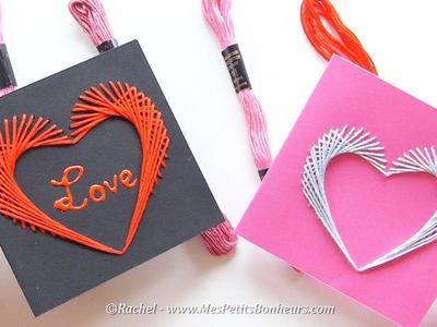 Carte coeur brodée pour Saint Valentin ou la Fête des Mères