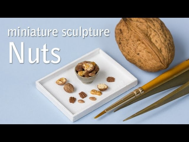 Miniature Walnuts, Peanuts, Pecan and Almonds. Polymer Clay Sculptures