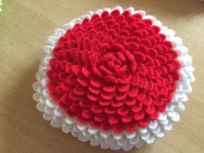 Tuto coussin, tapis pétales au crochet spécial gaucher 1.2