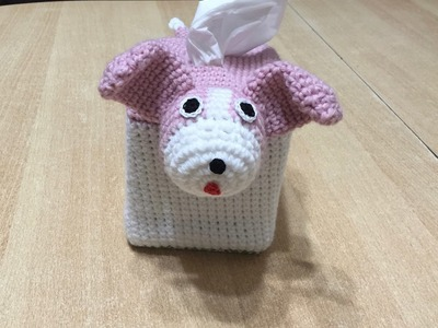 Tuto house boite mouchoirs chien au crochet spécial gaucher 2.2