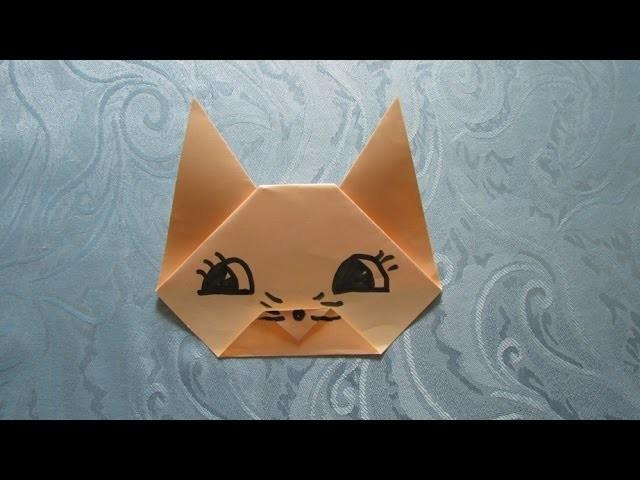 origami facile t te de chat. Black Bedroom Furniture Sets. Home Design Ideas