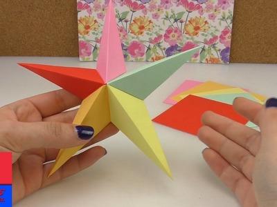 Etoile Origami avec 5 éléments | Plier une étoile en 3D | Déco de Noël à faire soi-même