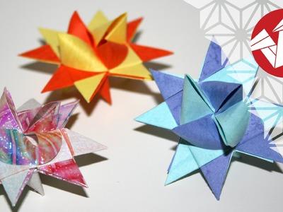 Tuto Origami - Etoile allemande de Noel (Fröebelstern) [Senbazuru]