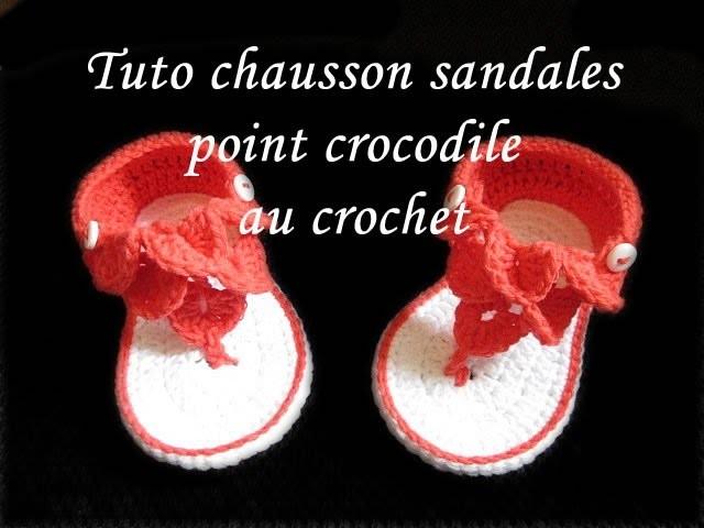 tuto chausson sandales au crochet point de crocodile facile. Black Bedroom Furniture Sets. Home Design Ideas