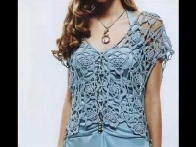 Crochet blusa,- Ganchillo blusa -Crochê Blusa