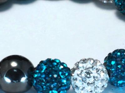 Cheeky Genie Turquoise & Silver 11 Ball Shamballa Bracelet