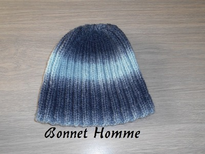 Tricoter un bonnet homme côte 2.2 facile, et rapide. knit a hat for man