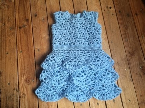 Tuto crochet : Robe a volant bébé au crochet toutes les tailles. Vestido bebe crochet