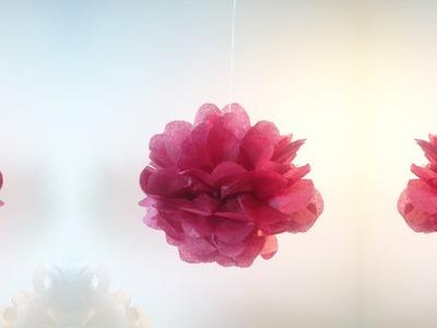 HD. TUTO: Faire un pompon en papier de soie - Make a paper silk pom-pom