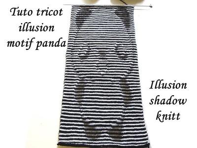 TUTO TRICOT ILLUSION COMPLET MOTIF PANDA SHADOW KNITT