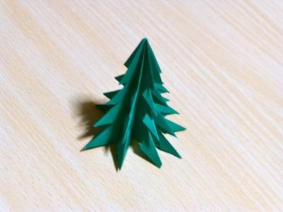 Origami. L'art du pliage de papier . arbre de Noël